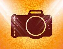 照片照相机 平的现代网按钮和空间为 免版税库存照片