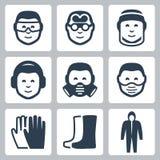 Διανυσματικά εικονίδια ασφάλειας εργασίας Στοκ Εικόνες