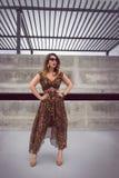 Γοητευτική γυναίκα στο ζωικό μεγάλου μεγέθους φόρεμα εξαρτήσεων τυπωμένων υλών Στοκ φωτογραφίες με δικαίωμα ελεύθερης χρήσης