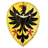 老被隔绝的盾象征纹章学老鹰 免版税库存图片