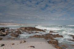 与碎波的海滩 库存图片