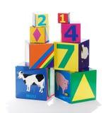 五颜六色的教育儿童的积木 免版税库存照片