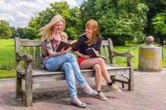 女孩坐在公园阅读书的长木凳 免版税图库摄影