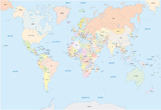 Παγκόσμιος χάρτης στη αγγλική γλώσσα Στοκ Εικόνες