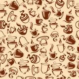 Безшовная картина с кофейными чашками Стоковое Изображение RF