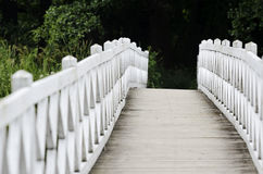 Сделанный по образцу деревянный белый пешеходный мост Стоковые Фотографии RF