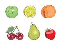 另外果子结果实葡萄柚猕猴桃柠檬桔子集 免版税库存图片