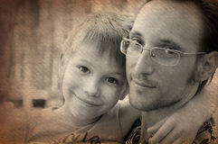 父亲和儿子,艺术性的图象画象  图库摄影
