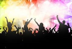 Силуэты людей танцуя Стоковое Изображение
