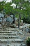 Πέτρινα βήματα που χαράζονται στο βράχο Στοκ Φωτογραφίες