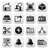 网,互联网传染媒介被设置的黑色按钮 免版税库存照片
