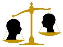 与男性和女性头的葡萄酒标度 免版税库存图片
