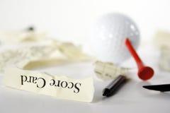 被撕毁的单独的看板卡高尔夫球评分 库存图片