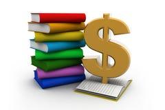 被打开的书和美元的符号 免版税库存图片