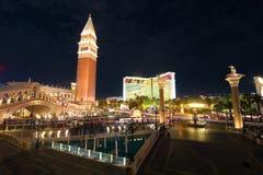 在拉斯韦加斯大道的威尼斯式赌场酒店手段 库存照片