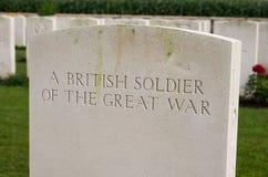 Ένας βρετανικός στρατιώτης του μεγάλου παγκόσμιου πολέμου ένας Στοκ Εικόνα