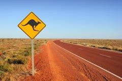 袋鼠交通标志 免版税库存图片