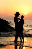 заход солнца пар Стоковая Фотография RF