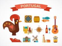Πορτογαλία - σύνολο διανυσματικών εικονιδίων Στοκ Φωτογραφίες