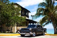 在棕榈下的古巴黑美国经典汽车 免版税库存图片