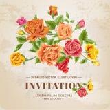 Флористическая карточка года сбора винограда роз Стоковые Изображения RF