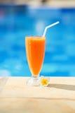在一种热带手段的可口新鲜的芒果汁 图库摄影
