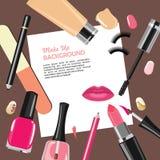 秀丽组成时尚化妆用品抽象背景 免版税库存图片