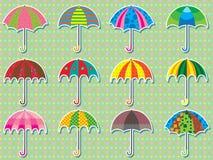伞设计集合贴纸 图库摄影