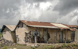 被破坏的房子在坦桑尼亚 图库摄影
