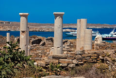 爱奥尼亚人柱头,在提洛岛海岛上的建筑细节 免版税库存图片