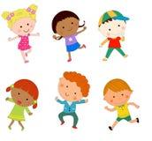 男孩和女孩动画片集合 免版税库存图片