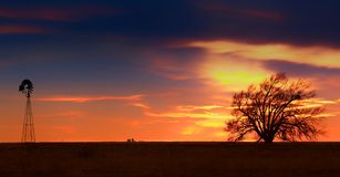 Западный заход солнца Техаса Стоковая Фотография RF