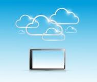 片剂和计算机云彩连接 免版税库存图片
