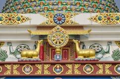 在寺庙的佛教标志艺术在蓝毗尼,尼泊尔 免版税库存图片