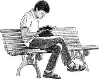 供以人员读取年轻人 库存图片