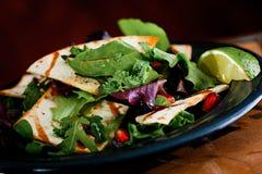 宏观新鲜的沙拉用石榴和炸玉米饼柠檬 库存图片