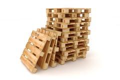 паллеты штабелируют деревянное Стоковая Фотография