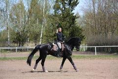 Молодая женщина ехать черная лошадь Стоковые Фотографии RF