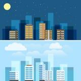 抽象城市大厦例证集合 免版税库存照片