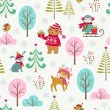 逗人喜爱的圣诞节森林样式 免版税图库摄影
