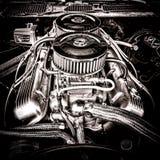Большой двигатель Шевроле блока в винтажном автомобиле мышцы Стоковые Изображения