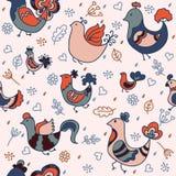 与五颜六色的鸟的无缝的模式 库存图片