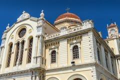 圣徒米纳斯大教堂在伊拉克利翁,克利特 库存照片