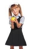 小女孩用苹果 库存照片