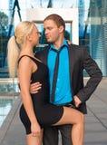 愉快企业的夫妇 免版税图库摄影