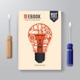 Концепция технологии шаблона дизайна цифров книги крышки Стоковое фото RF