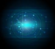 蓝色抽象技术高科技背景 免版税库存照片