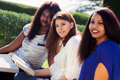 学习他们的圣经的女孩在公园 库存图片