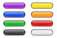 Красочный стеклянный лоснистый комплект кнопки значка сети Стоковые Изображения