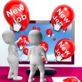新的工作的新的工作气球展示互联网祝贺 免版税库存照片